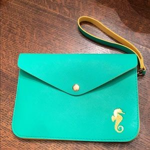 Top It Off Green Yellow Seahorse Envelope Clutch